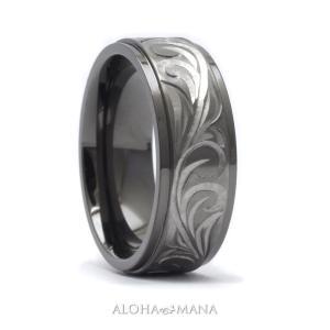 ハワイアンジュエリー リング 指輪 メンズ ブラックチタン ダブルトーン ブラックxシルバー 手彫りスクロールリング bri1313/新作|alohamana