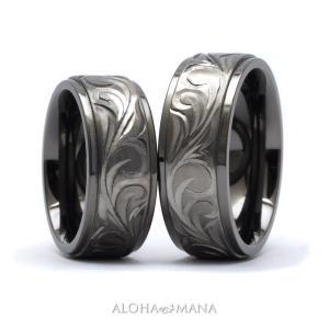 ハワイアンジュエリー ペアリング 指輪 リング ペア メンズ レディース ブラック チタン 手彫り スクロール bri1370/新作 プレゼント