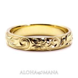 ハワイアンジュエリー 結婚指輪 マリッジリング 14金18金プラチナ Weliana ONLY ONE バレル ゴールドリングcdr001|alohamana