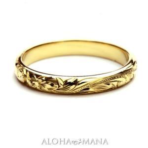 ハワイアンジュエリー 結婚指輪 マリッジリング 14金18金プラチナ Weliana ONLY ONE バレル ゴールドリング(幅3mm) cdr001mili|alohamana