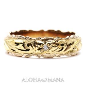 ハワイアンジュエリー マリッジリング 結婚指輪 ペアリング K14 K18 刻印無料 誕生石 名入れ...