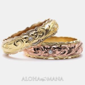ハワイアンジュエリーペア結婚指輪マリッジリングk14k18プラチナデュアルリーガルカットアウトONL...