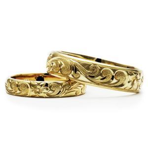 ハワイアンジュエリー 結婚指輪 マリッジリング ペアリング 14金18金プラチナ Weliana ONLY ONE ゴールドバレル カレイキニ cdr022kalepair alohamana