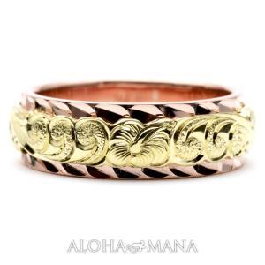 ハワイアンジュエリー 結婚指輪 ペアリング マリッジリング K14 K18 刻印無料 誕生石 名入れ...