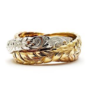 ハワイアンジュエリー 結婚指輪 マリッジリング Weliana ONLY ONE 三連カットアウト ...