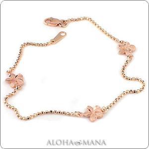 ハワイアンジュエリー ブレスレット K14ピンクゴールド プルメリアビーズブレスレット dmsbrpg1015 alohamana