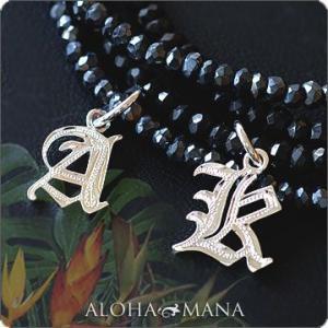 ハワイアンジュエリー ネックレス ブラックスピネル ネックレス イニシャル Silver925 fpd3142/数量限定 クリスマス プレゼント|alohamana