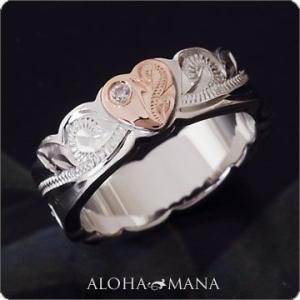 ハワイアンジュエリー リング指輪 スクロールカットアウト ピンクゴールドハートCZリング シルバー925 レディース 女性 frisr3312/数量限定|alohamana