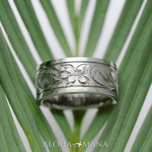 ハワイアンジュエリー リング指輪 アレルギーフリー チタンリング スクロール8mm fritir1041/数量限定 バレンタイン プレゼント|alohamana