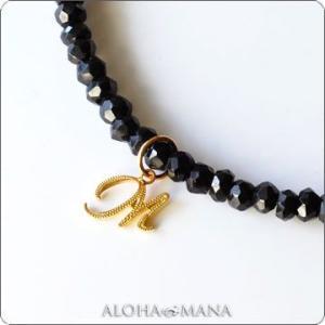 ハワイアンジュエリー ネックレス イニシャルペンダントK14GOLD ブラックスピネル gpd0654bs/数量限定 クリスマス プレゼント|alohamana