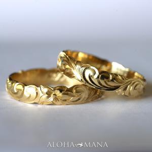 ハワイアンジュエリー 結婚指輪 マリッジリング ペアリングWeliana ONLY ONE イエローゴールド バレル ノーエッジまたはカットアウト 幅4 6mm hijri022ygpair alohamana
