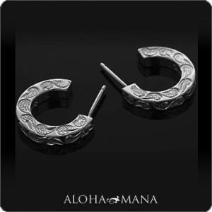 ハワイアンジュエリー ピアス Maxi マキシ C-シェイプピアス SV925ブラックゴールドポリッシュ メンズ 男性 mxer0021bp バレンタイン プレゼント|alohamana