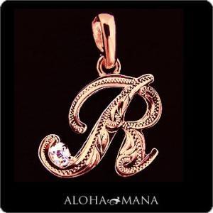 ハワイアンジュエリー ネックレス Maxi マキシ スクリプト イニシャルペンダントトップ アクセントダイヤモンドK14PINKGOLD(付属チェーンなし) mxpd0101pg|alohamana