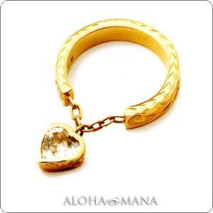 ハワイアンジュエリー リング Maxi マキシ リング スウィンギングホワイトクオーツハート K14イエローゴールド mxri0109yg|alohamana