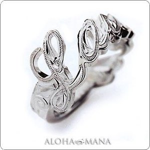 ハワイアンジュエリー リング Maxi マキシ メッセージリング K14ホワイトゴールド mxri0117wg|alohamana