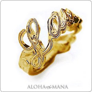 ハワイアンジュエリー リング Maxi マキシ メッセージリング K14イエローゴールド mxri0117yg|alohamana