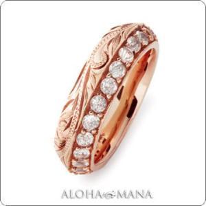 ハワイアンジュエリー リング Maxi マキシ ホワイトクオーツストーンアングルリング6mm K14ピンクゴールド mxri0154pg|alohamana