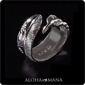 ハワイアンジュエリー リング指輪 Maxi マキシ カットアウト フェザーリング9mm SILVER925ブラックゴールドポリッシュ mxri0368bp クリスマス プレゼント|alohamana