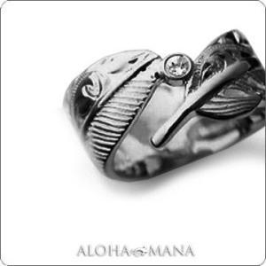 ハワイアンジュエリー リング指輪 Maxi マキシ カットアウト フェザーブラックオニキスリング9mm SILVER925ブラックゴールドポリッシュ mxri0369bp|alohamana