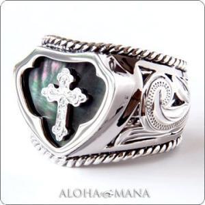 ハワイアンジュエリー リング指輪 Maxi マキシ レイズドクロスリング L シェルSILVER925ブラックゴールドポリッシュ mxri0396bp クリスマス プレゼント|alohamana