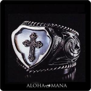 ハワイアンジュエリー リング指輪 Maxi マキシ レイズドクロスリング s シェルSILVER925ブラックゴールドポリッシュ mxri0397bp クリスマス プレゼント|alohamana