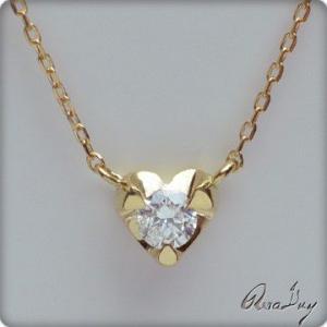 ネックレス RERALUy ダイヤモンド0.1ct プチハート 18金/K18イエローゴールド レディース 女性 rpd4616 バレンタイン プレゼント|alohamana