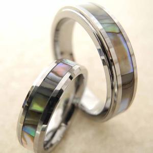 ハワイアンジュエリー ペアリング タングステン ペア 2本セット 貝殻 シェル 結婚指輪 リング 指...