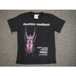 「クワガタ」 ジュニア プリントTシャツ ブラック alor21