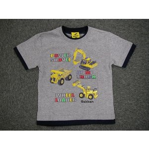 「働く車シリーズ」 ジュニア プリントTシャツ グレー alor21