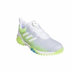アディダス ゴルフシューズ コードカオス ボア ロウ KXJ34 メンズ ゴルフ ダイヤル式スパイクレスシューズ 2E ホワイト×グリーン adidas アルペン PayPayモール店