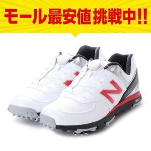 ニューバランス MGB574 メンズ ゴルフ ダイヤル式スパイクシューズ ホワイト×レッド New Balance