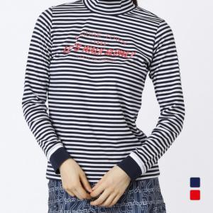 キスマーク レディース ゴルフウェア 長袖シャツ KM-1L2510H ボーダー柄 ハイネックシャツ kissmark|アルペン PayPayモール店
