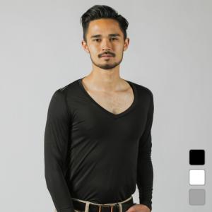 ◇Vネックタイプのコンプレッションインナーシャツ。UVカット/吸汗速乾/ストレッチ■カラー:ホワイト...