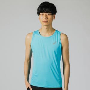 アシックス メンズ 陸上 ランニング ノースリーブシャツ ランニングシングレット (2011A082 401) : ブルー asics