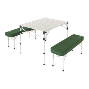◇ベンチの中にスマート収納。アルミ製テーブル&ベンチセット◇テーブルがベンチ内に収納されるオールイン...
