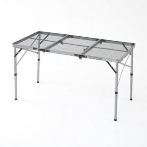 ◇アルミフレームの超軽量テーブル。天板がメッシュ仕様なので熱い物も置けます。3段折でコンパクトに。ハ...