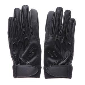 SSK 高校対応 バッティンググローブ 両手用 EBG3000W 野球 バッティング用手袋 : ブラック エスエスケイ|alpen-group