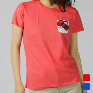 ◇キティリボンポケットTシャツ(吸汗速乾、UVカット)レギュラーシルエット■カラー:ペールブルーコー...