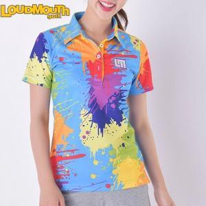 ラウドマウス レディースゴルフ ボタン 半袖 シャツ (吸汗速乾、UV) 726-200 カラー:038スプレーペイント  / Mサイズ 2016年春夏モデル (Loudmouth golf)|alphagolf
