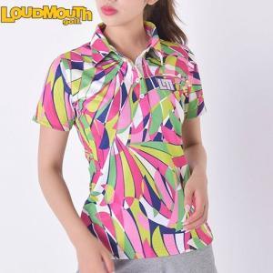 ラウドマウス レディースゴルフ ボタン 半袖 シャツ (吸汗速乾、UV) 726-200 カラー:037ピンクシャンパン  / Lサイズ 2016年春夏モデル (Loudmouth golf)|alphagolf