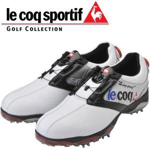 ルコック スポルティフ ヒール ダイヤル式 ソフトスパイク ゴルフ シューズ QQ0596 日本正規品 2017年モデル ホワイト / シルバー / ブラック|alphagolf