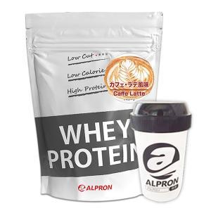 WPC ホエイプロテイン100 カフェラテ風味 1kg(約50食分)×シェイカーセット  アルプロン alpron