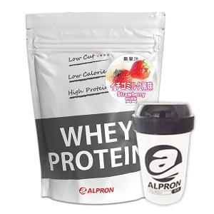 WPC ホエイプロテイン100 イチゴミルク風味 1kg(約50食分)×シェイカーセット アルプロン alpron