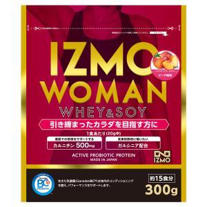 プロテイン ホエイ ソイ 300g WOMANプロテイン ピーチ 生きた乳酸菌BC-30配合 アルプロン 約15食分 大豆 女性 カルニチン ダイエット IZMO イズモ|alpron