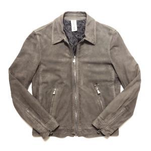 Delan デラン/ディラン ROCKY 中綿入り 襟付き シングルライダース レザーブルゾン スウェード グレー|altasotto