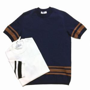 TOMORROWLAND トゥモローランド メンズ ヘムストライプ ニットTシャツ|altasotto