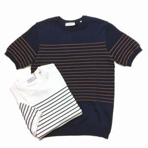 TOMORROWLAND トゥモローランド メンズ ロープストライプ ニットTシャツ|altasotto