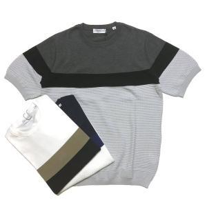 TOMORROWLAND トゥモローランド メンズ パネルストライプ ニットTシャツ|altasotto