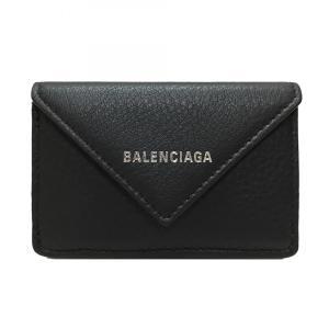 バレンシアガ BALENCIAGA レディース 三つ折財布 ペーパー ミニ ウォレット 391446 DLQ0N 1000 レザー ブラック