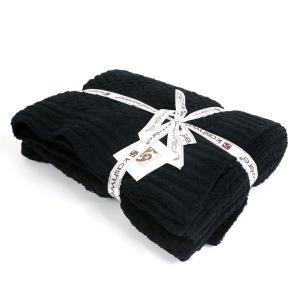 Kashwere カシウェア Throw - Textured Basket Weave Pattern スロー テクスチャー バスケット 織り柄 ブランケット Black ブラック T-33-09-52 あすつく